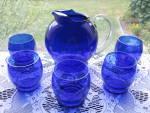 Click here to enlarge image and see more about item DG102: Elegant Dep. Era Cobalt Blue Juice Pitcher & Tumblers