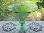 Fostoria Green Cut Footed  Flared Vase