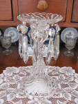 """Click to view larger image of Fostoria Colony 9"""" Candlestick/Lustre w/10 Prisms (Image2)"""