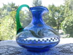 Click here to enlarge image and see more about item FN109: Fenton Designer Showcase Cobalt Rib Optic Pitcher