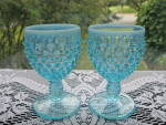 Click to view larger image of Fenton Blue Opalescent Hobnail Round Wine Goblets - Pr. (Image1)