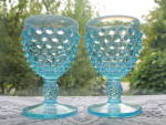 Click to view larger image of Fenton Blue Opalescent Hobnail Round Wine Goblets - Pr. (Image2)
