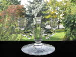 Click here to enlarge image and see more about item HS124: HEISEY Trident 2 Lite Candlestick w/Orchid Plate Etch