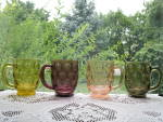Click here to enlarge image and see more about item IP103: Imperial Glass Olive Pattern Mugs - Set of 4 - 4 Colors