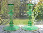 Click here to enlarge image and see more about item LG102: Glastonbury/Lotus Green La Furiste Candlesticks - Pr.