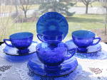 Click here to enlarge image and see more about item NM103: New Martinsville ADDIE COBALT BLUE Cups & Saucers - 4
