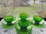 Click here to enlarge image and see more about item NM107: New Martinsville Addie Green Cups & Saucers - 4 sets