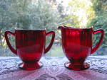 Click here to enlarge image and see more about item NM108: New Martinsville Ruby Addie/Twelve Point Creamer & Suga