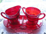 Click to view larger image of New Martinsville Ruby Moondrops Ind. Creamer & Sugar w/ (Image2)