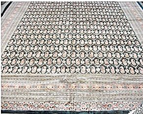 "Pakistan  Uzbek Bokara Silk & Wool Rug   14'5"" x 10'7"" (Image1)"