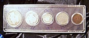 Lot Of 5 U.s. 19th. And 20th. Century Coins.