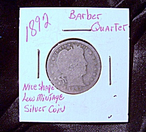 United States Barber Quarter 1892