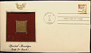 Gold Stamp Keep In Touch 1st. Day Of Issue