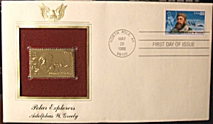 Gold Stamp Polar Explorers Adolphus W. Greely 1st day (Image1)