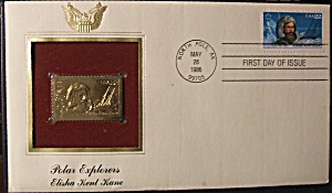 Gold Stamp Polar Explorers Elisha Kent Kane 1st day (Image1)