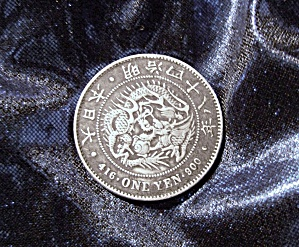 Japanese Silver Yen Coin circa late 19th. or early 20th. century. (Image1)