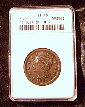Large cent 1851 w/ overdate 1851/81, certified coin (Image1)