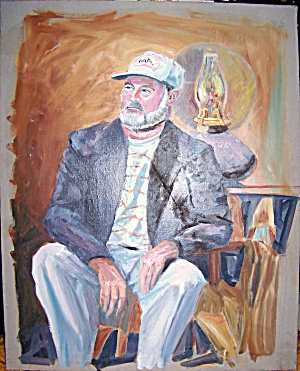 Oil Painting Original On Old Canvas. Ernest Hemingway (?).