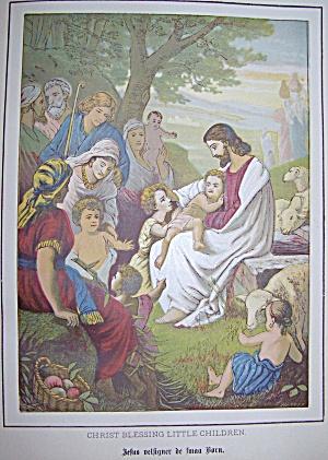 Original Bible plate 1800's: Christ blessing little children (Image1)