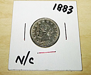 1883 V nickel n/c nice clear coin.  (Image1)