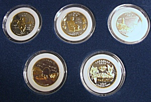 2003 Set Of Five 24 Karat Gold Plated Statehood Quarters.