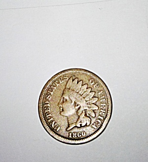 1860 Indian cent penny.  (Image1)