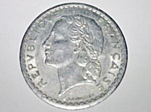 1949 5 Francs aluminum coin.  (Image1)