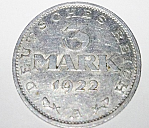 1922 A 3 mark coin from Germany Weimar Republic. (Image1)