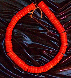 Bright Red Orange Coral Beads,antique, Rare Sale Thru Veteran's Day