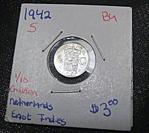 Netherlands East Indies 1/10 Gulden wartime 1942 coin BU (Image1)
