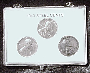 Lot Of 3 U.s. Steel Cents 1943 World War Ii.