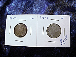 Pair Of 1907 United States Coins