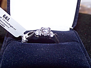 Platinum Ring, Ladies, W/ Round Brilliant Cut Diamond