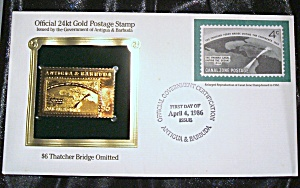 Gold Postage Stamp 24 kt $6 Thatcher Bridge Omitted 1st. day of issue (Image1)