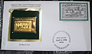 Gold Postage Stamp 24 Kt $6 Maori Art 1st Day Of Issue.