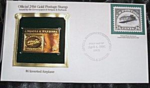 Gold Postage Stamp 24 kt $6 inverted airplane 1st day of issue. (Image1)