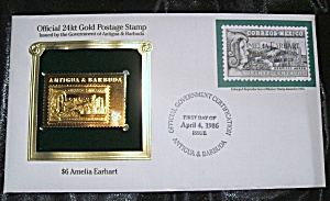 Gold Postage Stamp 24 kt $6 Amelia Earhart. 1st day of issue. (Image1)