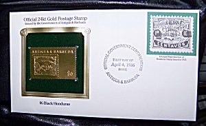 Gold Postage Stamp 24kt $6 Black Honduras 1st day of issue. (Image1)