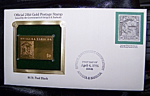 Gold Postage Stamp 24kt $6 St. Paul Black 1st day of issue. (Image1)