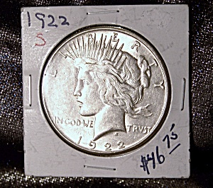 Peace Dollar 1922 S 90% silver. (Image1)