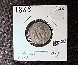 Shield Nickel 1868 Without Rays.
