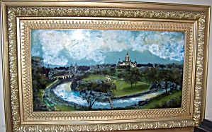 Reverse painting of castle scene, w/ antique gilt frame. (Image1)