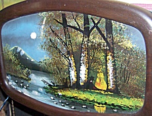 Reverse glass painting of moonlit brook and forest. (Image1)