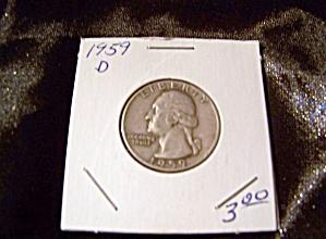 Washington Quarter 1959-D 90% silver. (Image1)