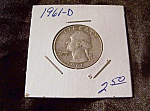 Washington Quarter 1961-d 90% Silver.
