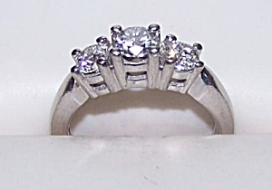 Ladies platinum ring, 950, w/  3 diamonds 1.15 total carat wt. (Image1)
