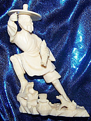 Ivory Figurine Of Oriental Fisherman.