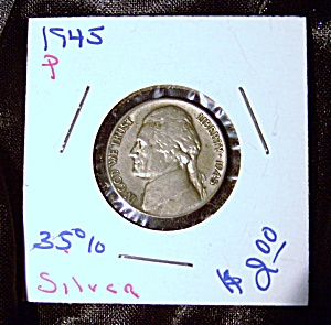 Jefferson Nickel wartime 1945 P 35% silver. (Image1)