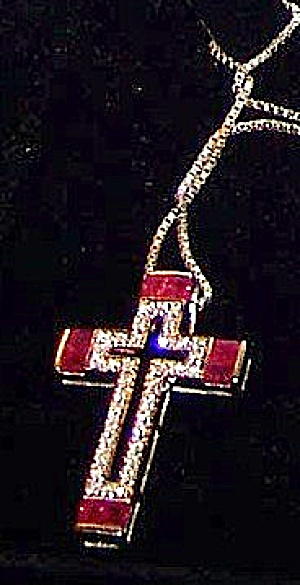 Cross pendant 18k gold w/ white gold necklace, 8 square rubies (Image1)