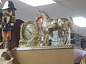 Antique Lanshire Clock, Brass With Horse And Lamp